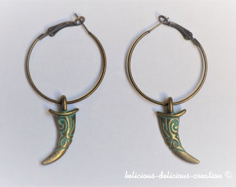 Original Creole Earrings!! Corn!! antique bronze Size 3.5cm x 6.5cm belicious-delicious-creation