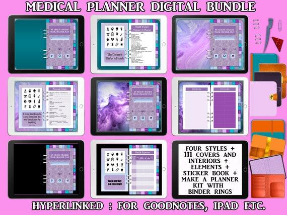 DIGITAL PLANNER Bundle, Hyperlinked Health Planner, Medical Information Digital Notebook, Goodnotes iPad etc, Stickers, Covers + DIY Kit