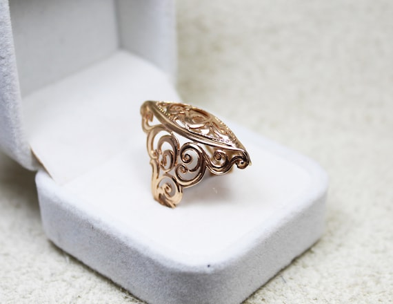 Vintage 14K Gold ring, made in USSR, 1970s. Gift,