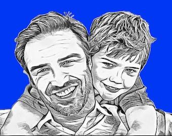 Father's Day Gift Idea, Custom Portrait Custom, Pop Art Portrait, Custom Digital Portrait, Custom Couple Portrait, Framed Print Fathers day