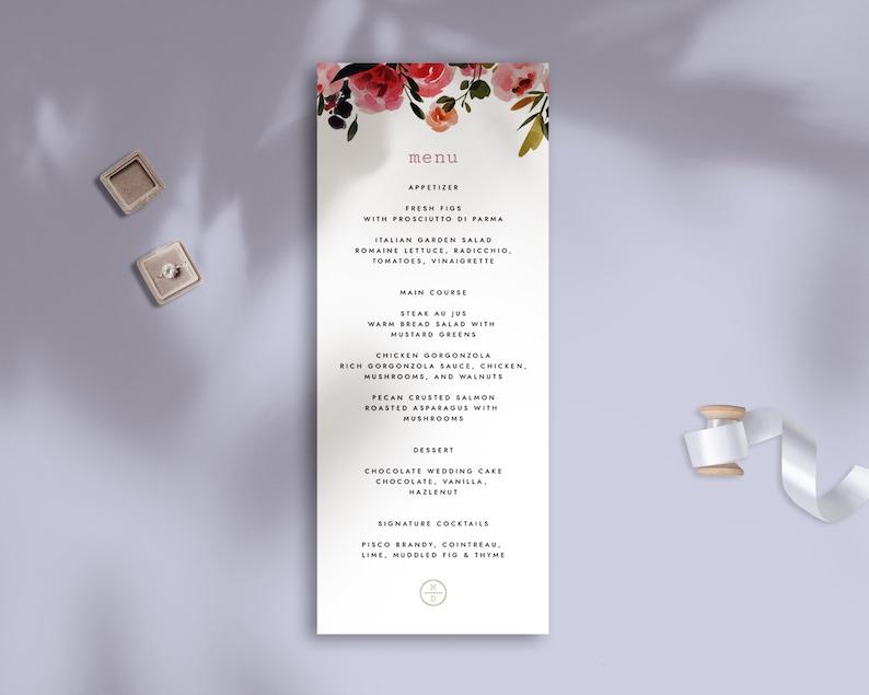 Flowers DIY Floral Pink Printable Wedding Menu Self-Editing Wedding Menu Template Templett