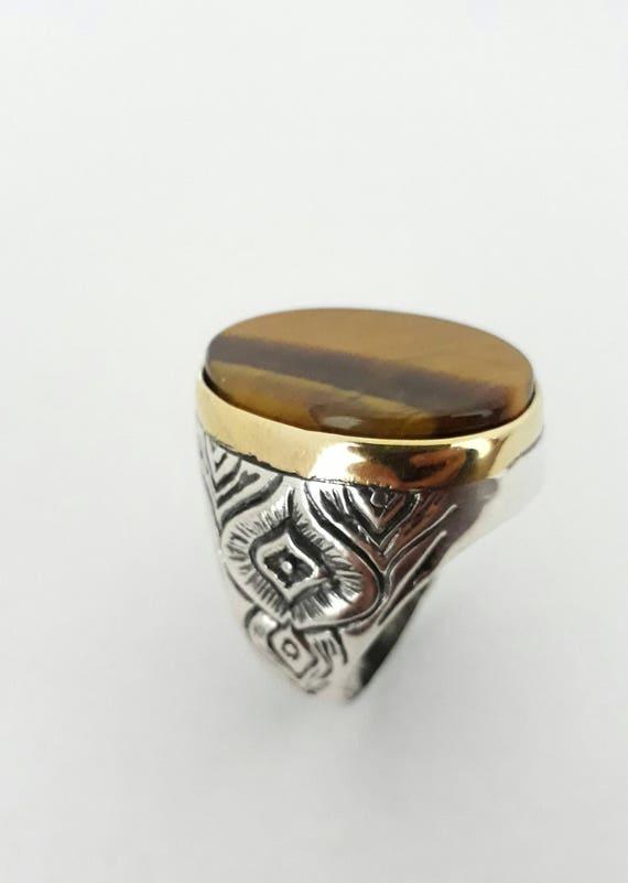 silver handmade ring-men ring gif-silver rings gif tiger eye stone men ring Men Ring-925K Sterling Silver tiger eye mens ring