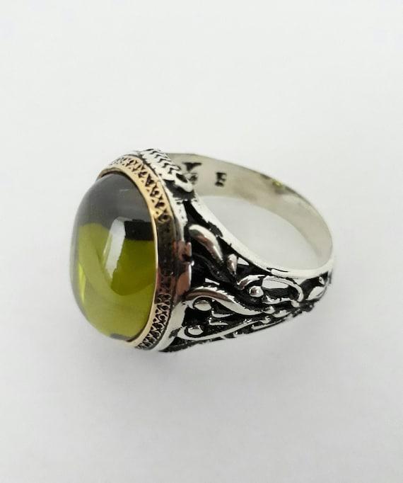 Mens Ring-925K Sterling Silver-Men Ring-green stone rings silver handmade ring-men ring gif-silver rings gif green zircone men ring stone