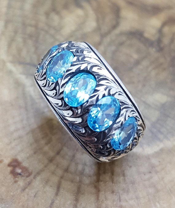 Aquamarine Stone Ring Silver Man Ring Silver Mens Ring Gift Mens Ring Gift Mens 925K Sterling silver Aquamarine Silver Ring