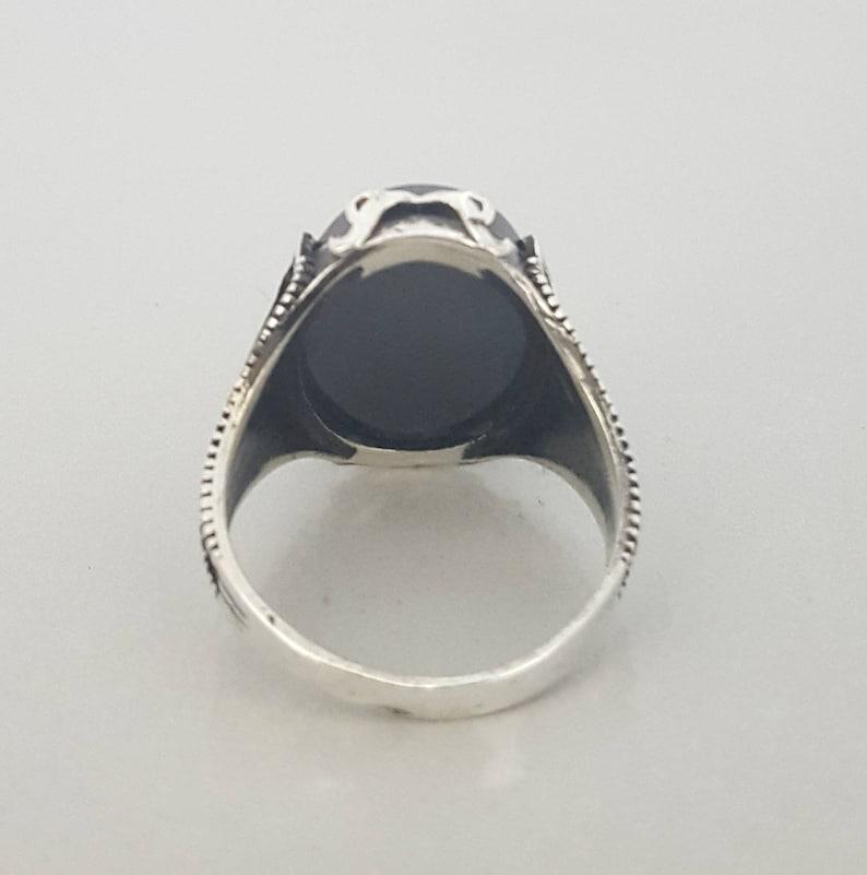 925K Sterling Silver Black Onyx Men/'s Ring
