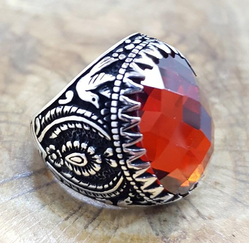 silver rings 925K Sterling Silver Ring Garnet Stone Men Ring mens ring gif silver handmade ring