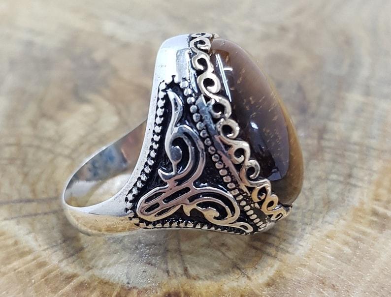 silver handmade ring Tiger Eye Mens Ring Siver Ring Tiger Eye Stone Sterling Silver