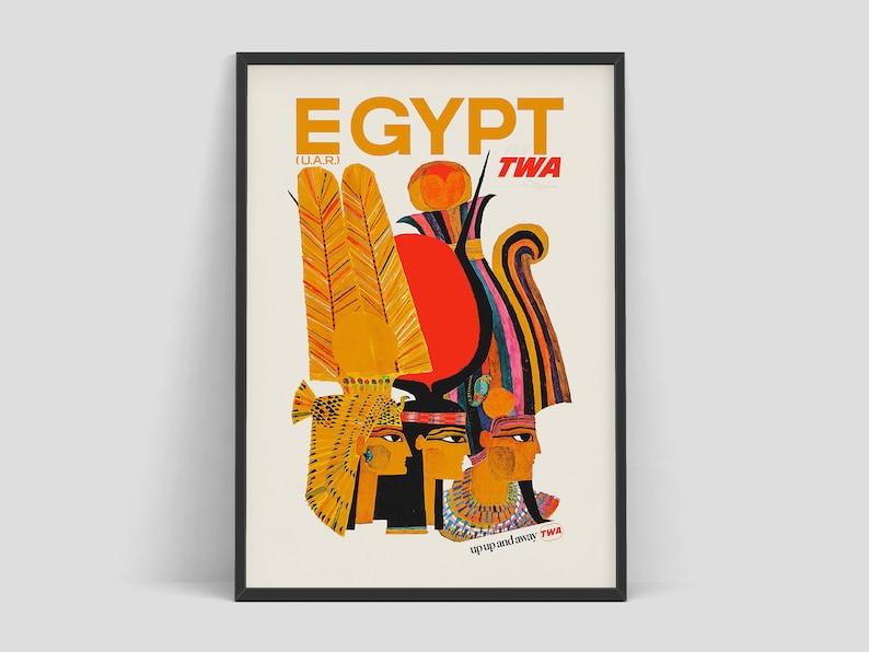 Egypt  Fly TWA vintage travel poster by David Klein 1960  image 0