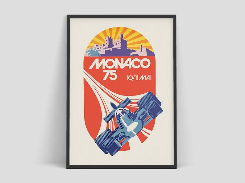 1975 Monaco Grand Prix  Vintage Formula 1 poster by Michael image 0