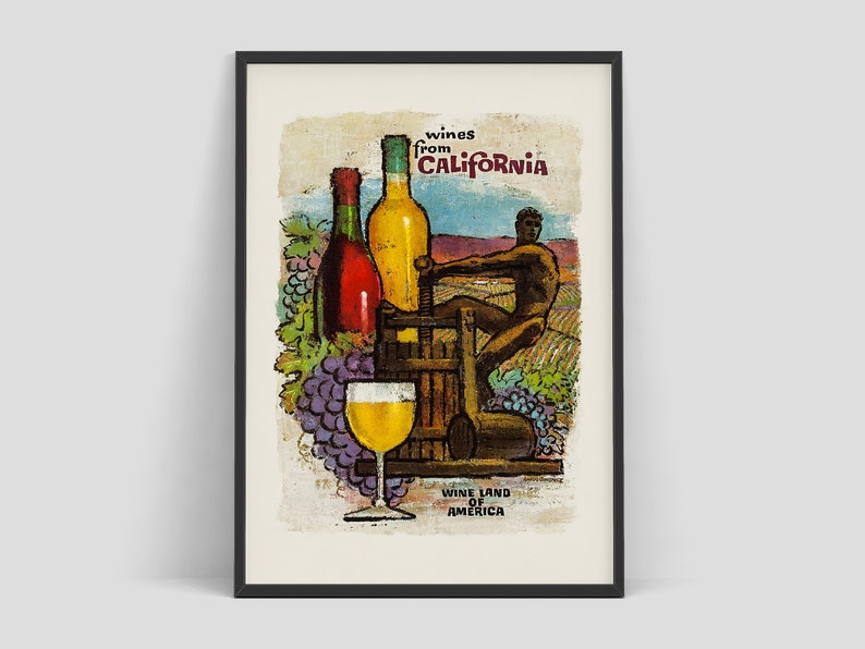 Wines from California  Original vintage travel poster image 0