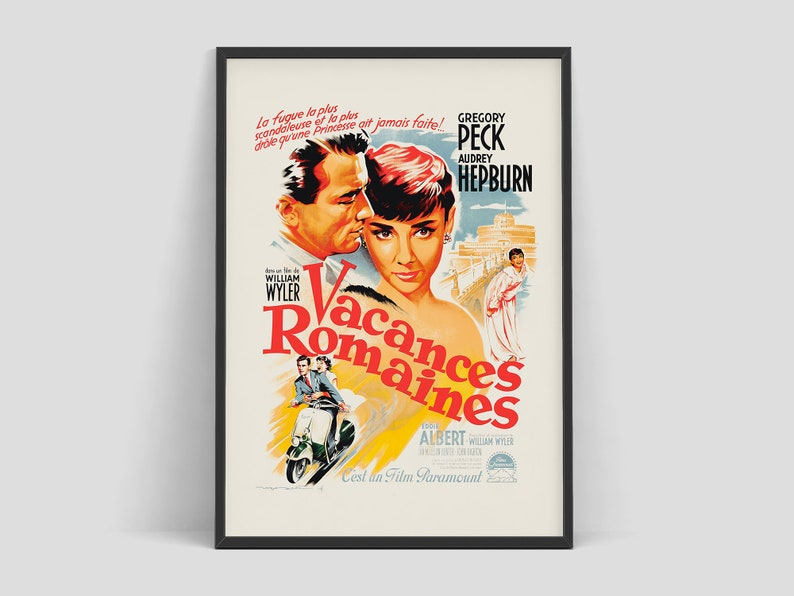 Audrey Hepburn  Roman Holiday french vintage movie poster by image 0