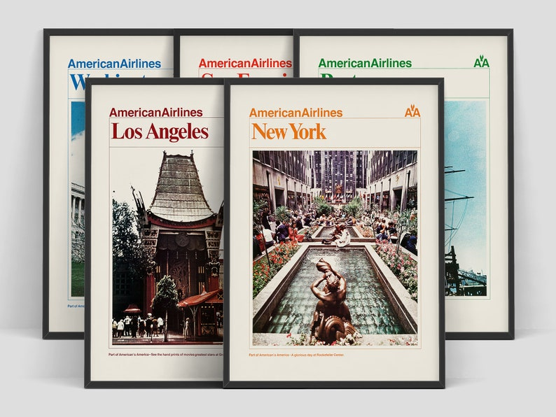 Set of five American Airlines travel posters 1970s New York image 0