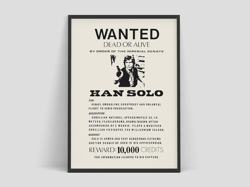 Star Wars  Han Solo wanted poster 1970s  Star wars poster  image 0