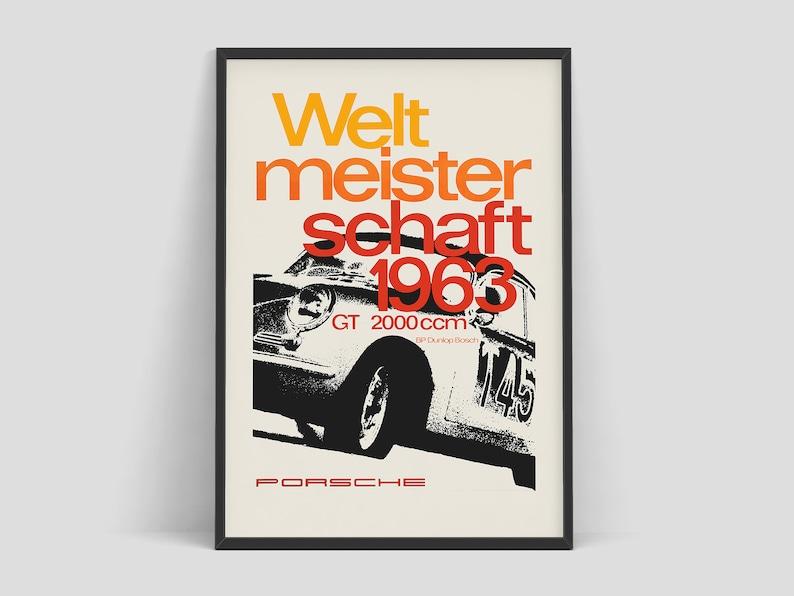 Porsche poster  Weltmeisterschaft 1963   Auto racing art  image 0