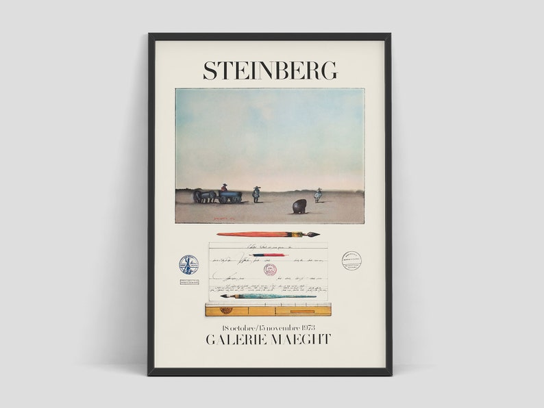 Saul Steinberg  Vintage exhibition poster advertising an art image 0