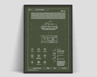 Tank M3 Lee | USA | Tank Patent | Military Poster | World of Tanks | Poster Print | Soldier Art | World War 2 | Blueprint | Warthunder