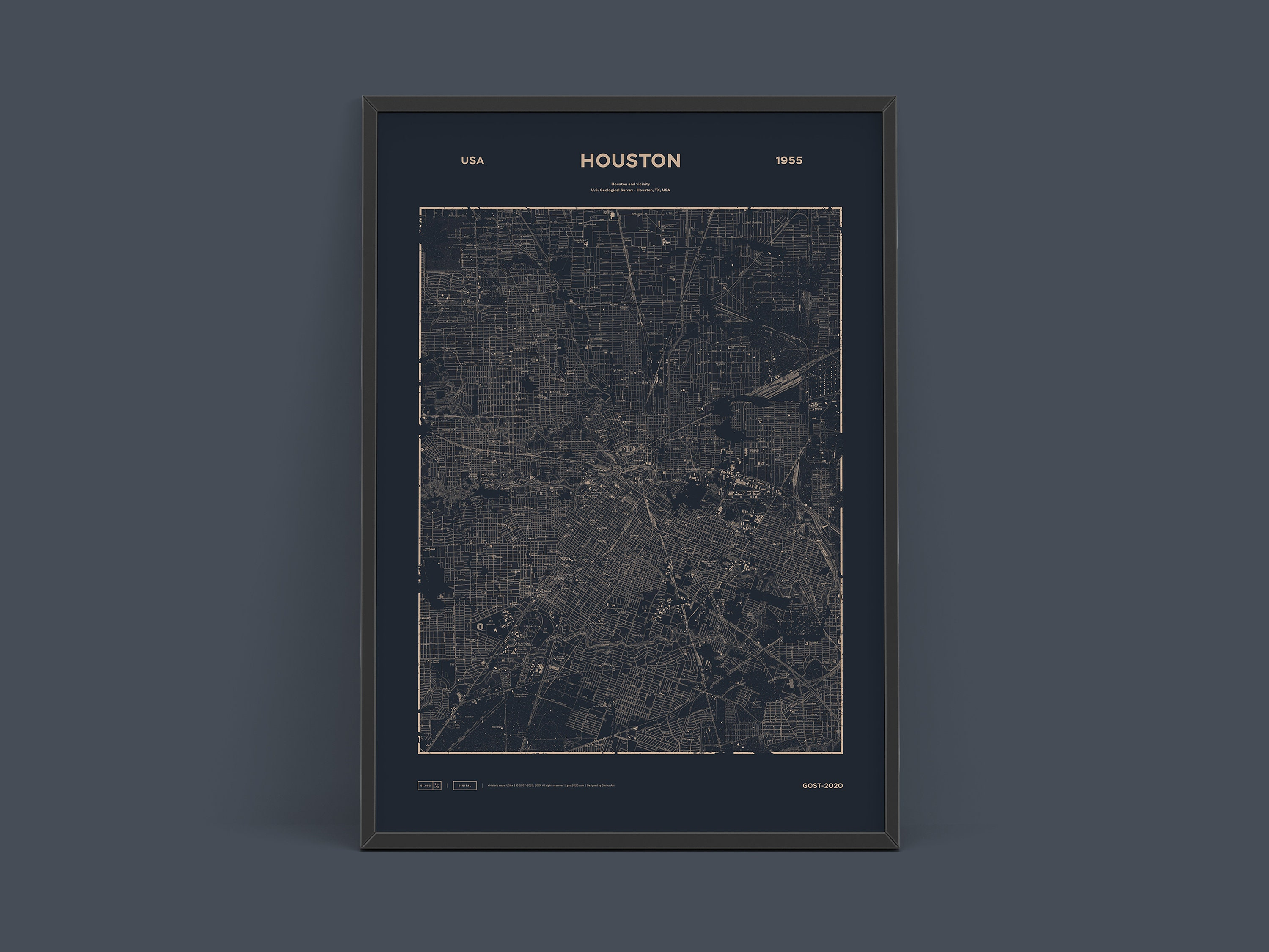 Houston 1955 - Old map GOST-2020 | Texas | Historic art | Instant download on smsa maps of usa, best maps of usa, city maps of usa, region maps of usa, state maps of usa, zip code map usa, msn maps of usa, elevation maps of usa,