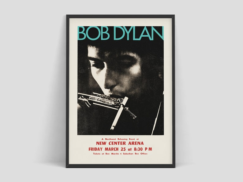 Bob Dylan  Concert Poster with The Hawks The Band Seattle image 0