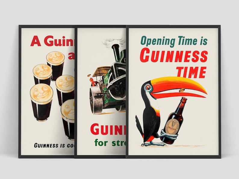 Set of 3 prints Guinness  Original vintage Beer posters  image 0