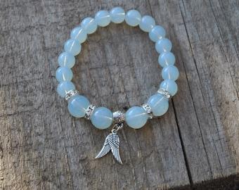 Moonstone Jewelry,womens bracelet,bohemian bracelet,nice bracelet wings,fashion jewelry,bracelet natural stone,magic amulet,little charm