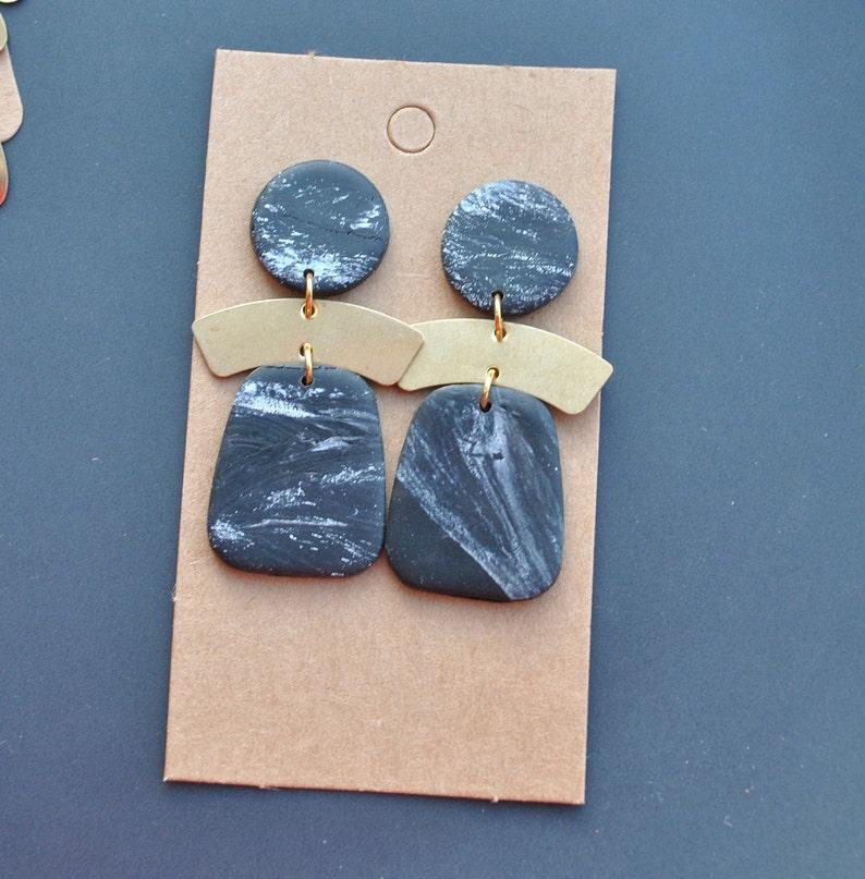 Modern black white marble clay drop earrings,Minimalist earrings|Polymer clay studs clips|Geometric Statement|flower earrings.Valentine/'s