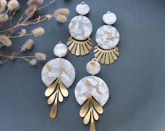Modern abstract pastel arch earrings Minimalist fan Dangle earrings Polymer clay stud clip Geometric Statement earrings girl gift