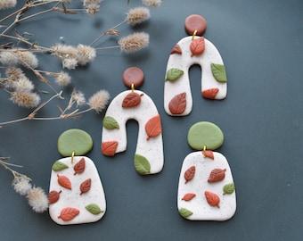 Arch Modern fall autumn leaf print earrings|Minimalist Dangle earrings|Polymer clay stud clip|Geometric Statement earring|girlfriend gift