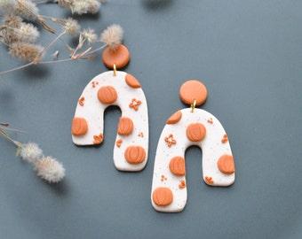 Pumpkin Halloween Arch Modern fall autumn earrings|Minimalist Dangle earrings|Polymer clay stud clip|Geometric Statement earring|girlfriend