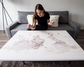 Unique 21th Birthday Gift for Daugther - Push Pin World Map Detailed - Travel Pin Board - Ready to Hang + 100 pins | TRIP MAP