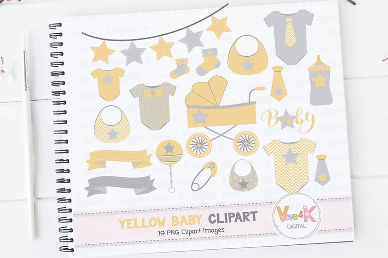 Yellow Baby Clipart Gender Neutral Baby Clipart Baby Shower Etsy