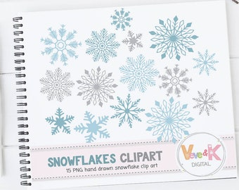 Snowflakes Clipart, Snowflakes Digital Art, Hand drawn Snowflakes Christmas Card Overlay, Winter Clipart, Hand drawn Clipart, Commercial Use