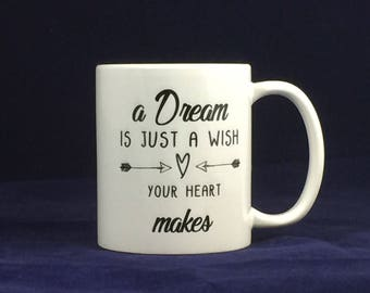 Funny motivational mug A dream is just a wish your heart makes - Lizard print