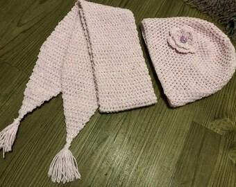 Crocheted Ladies Teenagers Pink Aran Hat & Scarf Set