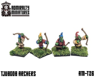 4 Tjubgob Archers 15mm Fantasy Wargaming Admiralty Miniatures Sculpted by Tobias Torstensson Hobgoblin Hobgoblins Hobos Hobgobs Tjub Gobbos
