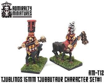 2 Tjubbutaur Leaders 15mm Fantasy Wargaming Admiralty Miniatures Sculpted by Tjub Chaos Abyssal Infernal Dwarfs Centaurs Tjublings Bulls T9A