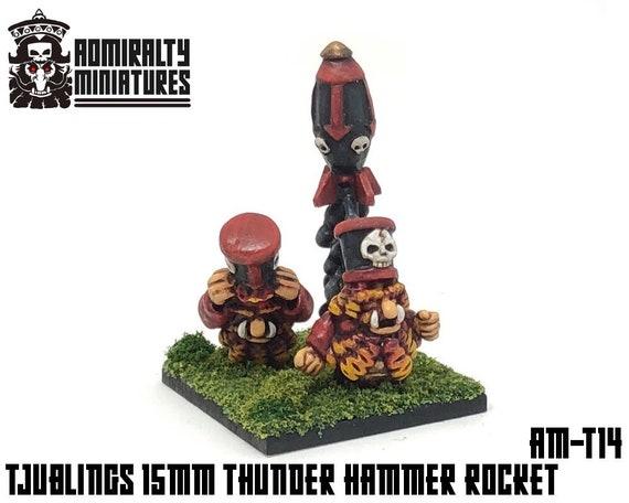 Tjubling Thunderhammer Rocket 15mm Fantasy Wargaming Admiralty Miniatures  Sculpted by Tjub Chaos Abyssal Infernal Dwarfs Dwarves Death Team