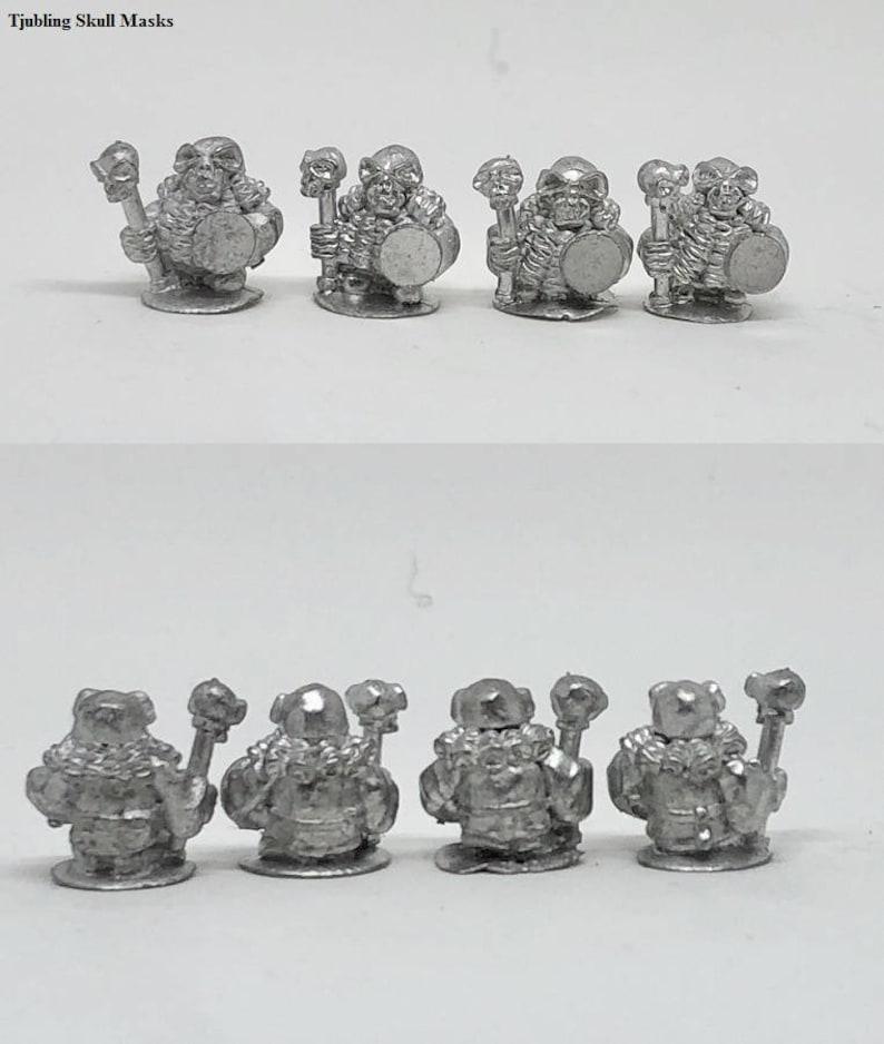 4 Tjubling Skull Masks 15mm Fantasy Wargaming Admiralty Miniatures Sculpted by Tobias Torstensson Infernal Chaos Ashen Dwarfs Dwarves Army