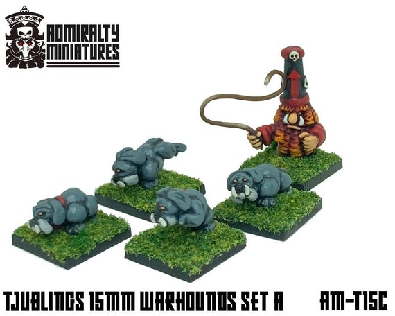 Small Tjubling Dog Pack 15mm Fantasy Wargaming Admiralty Miniatures Sculpted by Tjub Chaos Abyssal Infernal Dwarfs Dwarves Warhounds Dogs