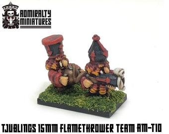 Tjubling Flamethrower Team 15mm Fantasy Wargaming Admiralty Miniatures Sculpted by Tobias Torstensson Infernal Chaos Ashen Dwarfs Hat Mini