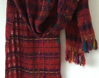 Handwoven red scarf with sari silk