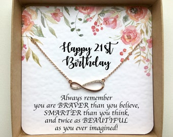 Rose Gold Infinity Necklace On Card 21st Birthday Gift For Her Best Friend Daughter Sister