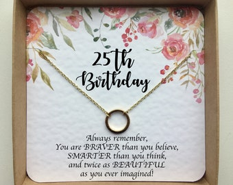 25th Birthday Gifts For Her Gift Best Friend Sister Daughter Niece Silver Or Gold Necklace Set Infinity Circle Girlfriend