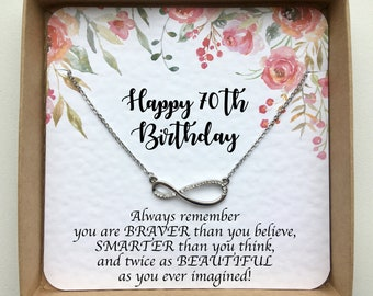 Silver Infinity Necklace On Card 70th Birthday Gift For Mom Jewelry Women