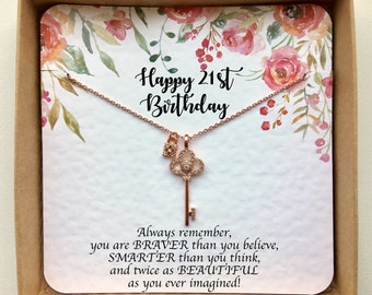 Rose Gold Key Necklace On 21st Birthday Card Daughter Gift For Her Best Friend