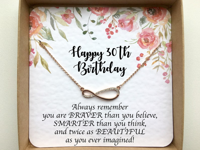 Rose Gold Infinity Necklace On Card 30th Birthday Gift For