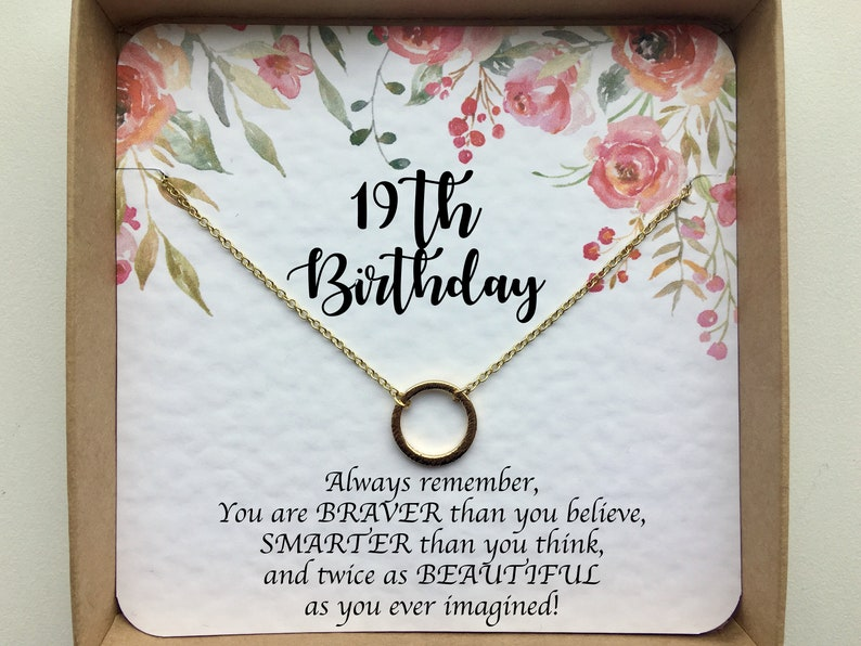 19th Birthday Gifts For Girls Gift Sister Best Friend Niece Silver Or Gold Necklace Her Daughter