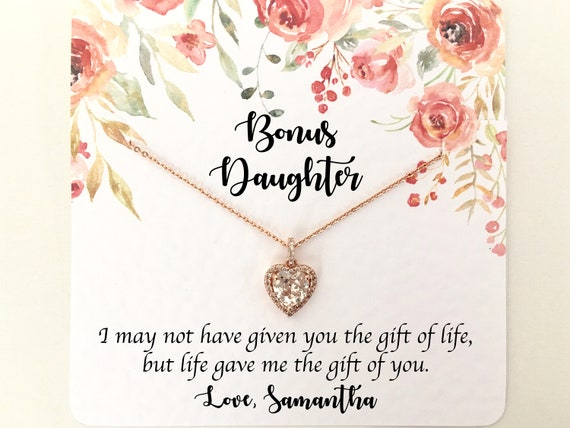 Stepdaughter gift on wedding day Stepdaughter wedding gift Stepdaughter necklace and earring set jewelry for Birthday. Step daughter gift