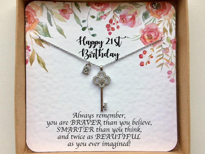 Silver Key Necklace On 21st Birthday Card Daughter
