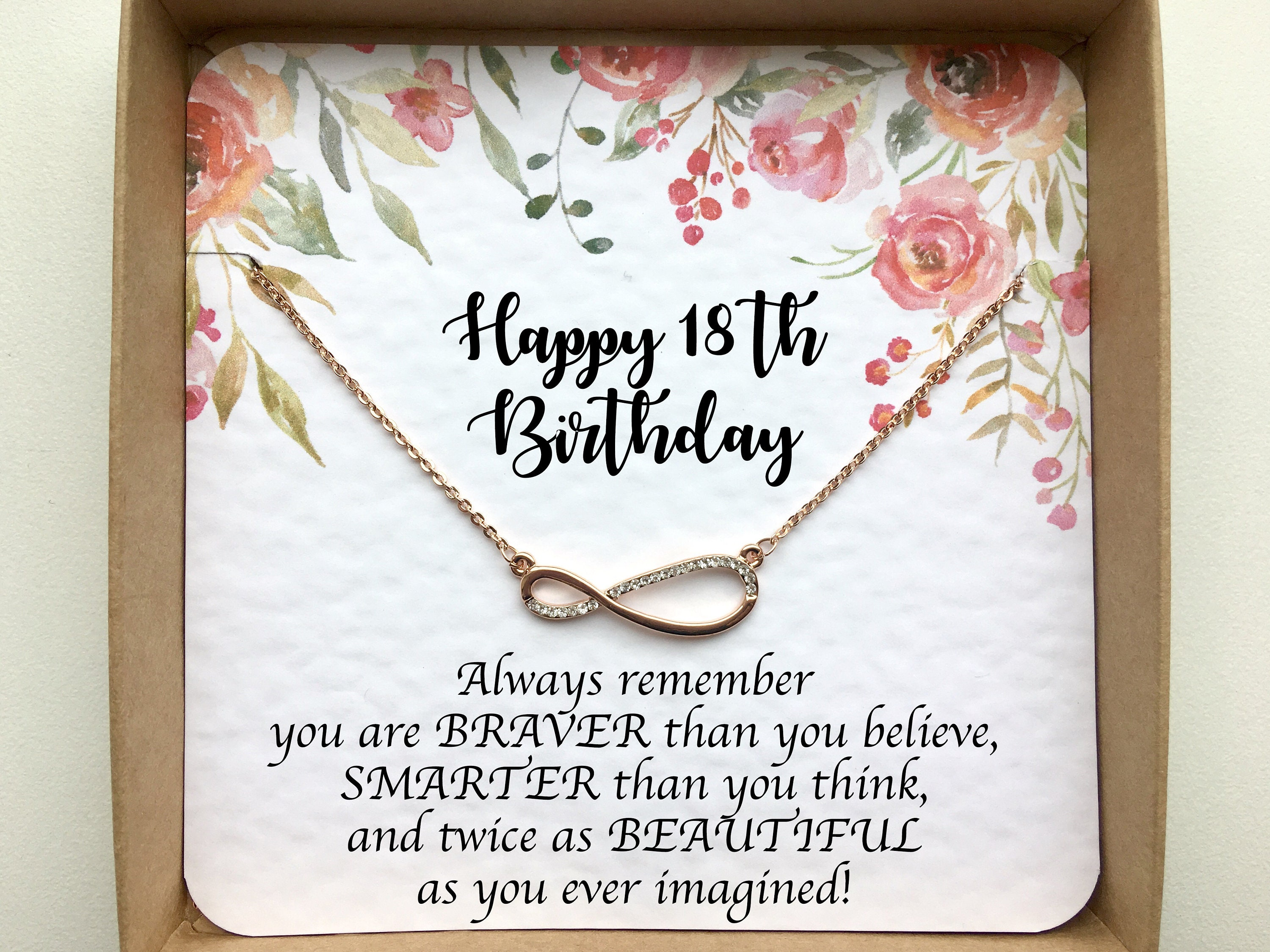 Rose Gold Infinity Necklace On Card 18th Birthday Gifts For