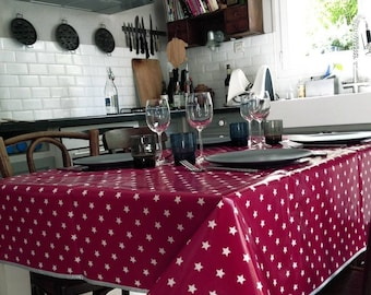 Cotton waxed coated red stars tablecloth white 105 X 140 cm - on order